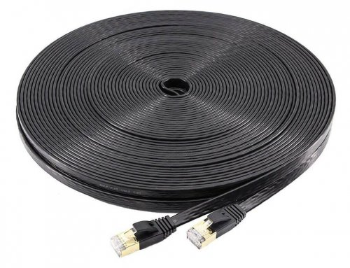 100ft Gigabit Gold Plated Flat Cat7 Ethernet Lan Cable